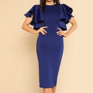 Royal Blue Flare Sleeve Midi Dress